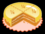 Cake quarters-Bruchrechnen @ wikipedia.org © Acdx, R. S. Shaw